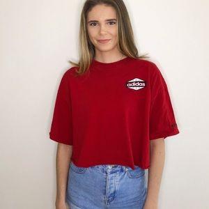 Tops - Adidas Red Crop Top Tee